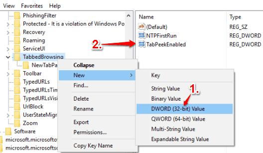 create TabPeekEnalbed dword value