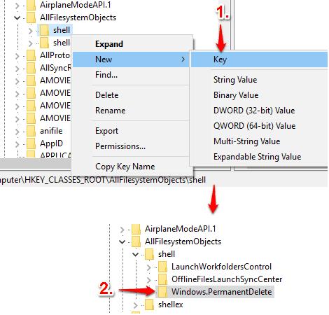 create Windows.PermanentDelete key