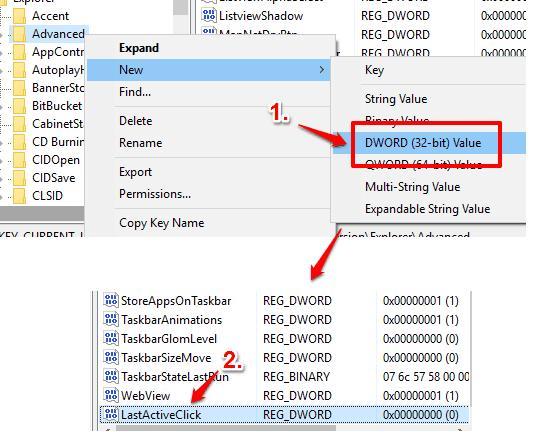 create a new lastactiveclick dword value