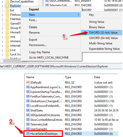 create hoverselectdesktops dword value