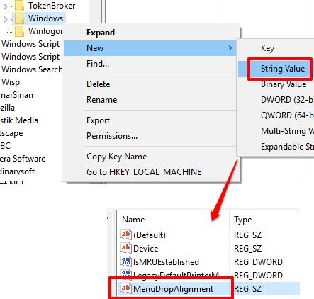 create menudropalignment string value