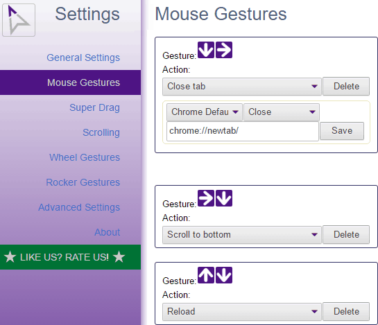crxMouse chrome gesture extensions- mouse gesture options