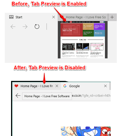 disable tab preview in Microsoft Edge