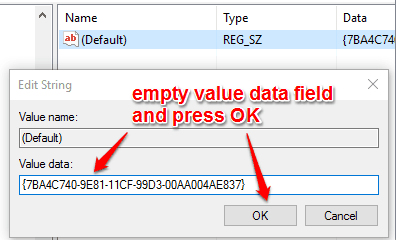 empty value data field and press ok