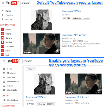 enable grid layout in youtube video search results
