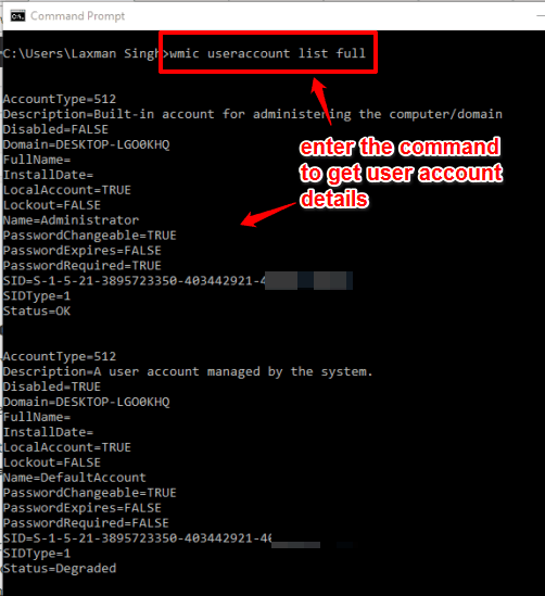 enter the command to view user account details
