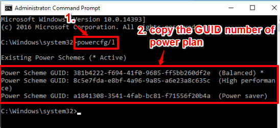 execute power plan command and copy GUID number of power plan
