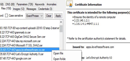 extracted certificate