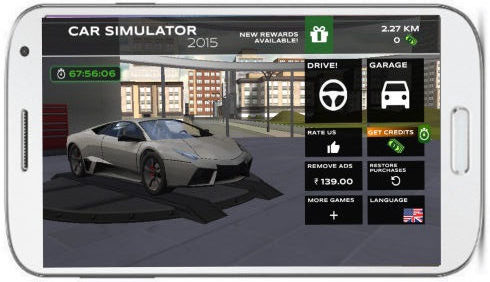 extreme car driving simulator garage main interface