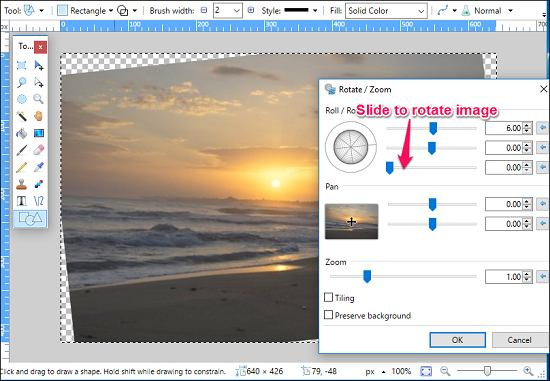 fixing horizon using paint.net