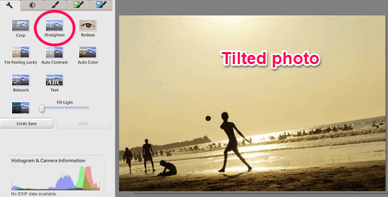fixing tilted photos using picasa