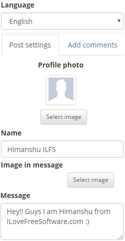 Galau.me: create fake facebook post options