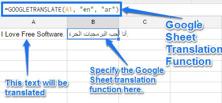 google sheet translation formula