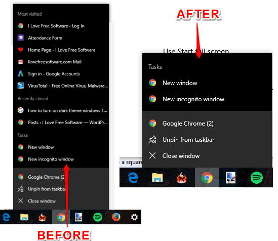 jump lists removed from taskbar