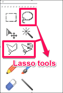 image editor with lasso tool