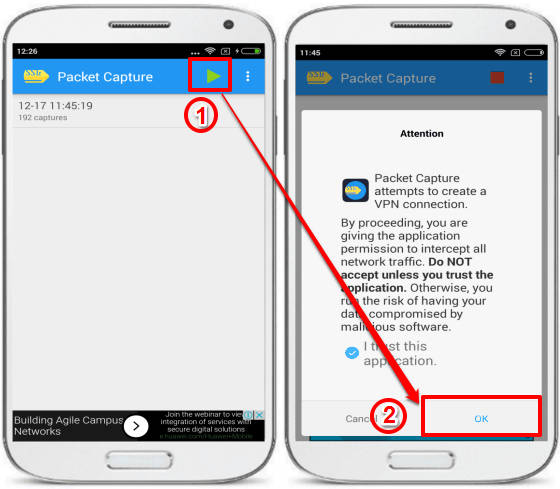 packet capture android packet sniffing app for non rooted device- allow to capture packets