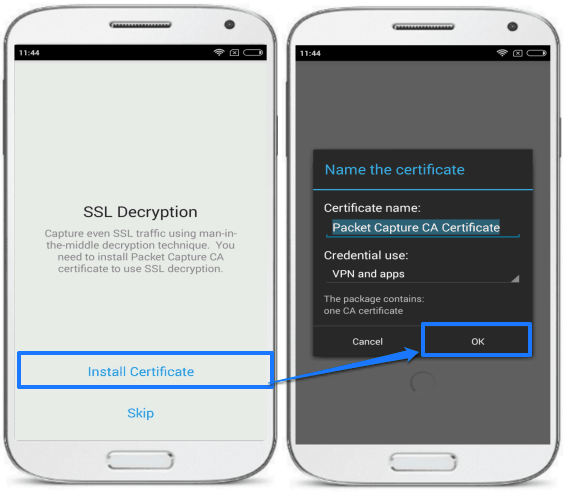 packet capture android packet sniffing app for non rooted device- install certificate