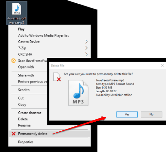 permanently delete option in context menu