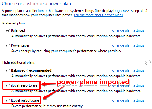 power plans imported to windows 10