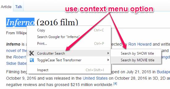 search using context menu