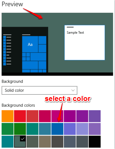 select a solid color and preview it