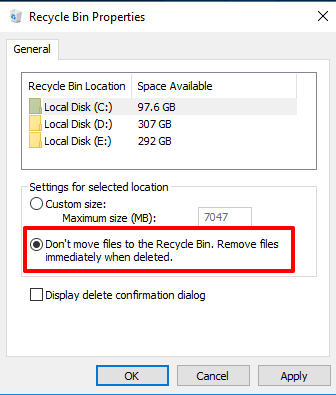 select don't move files to recycle bin option