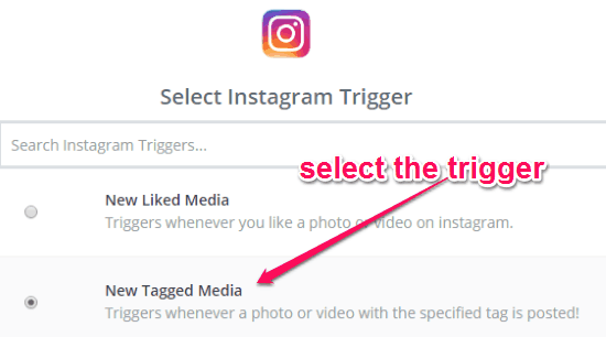 select instagram trigger