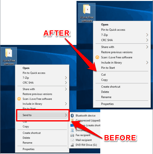 send to menu removed from windows 10 context menu