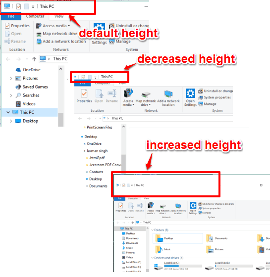set the height of title bars in windows 10