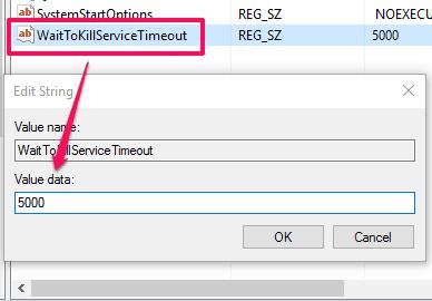 set value data of WaitToKillServiceTimeout