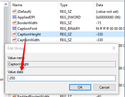 set value data of caption height string value