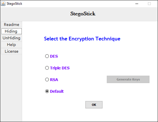 stegostick- encryption page