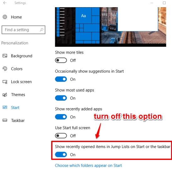 turn off jump lists option