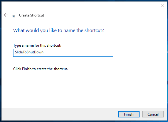 type a name of shortcut