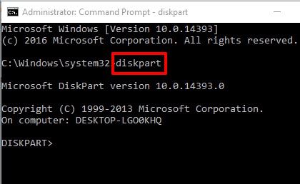 type diskpart and press enter
