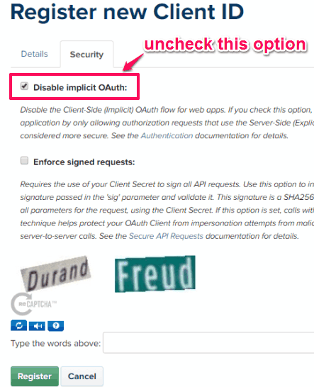 uncheck disable implicit OAuth and register