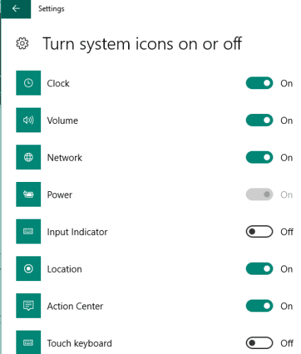 use buttons to turn system icons on or off