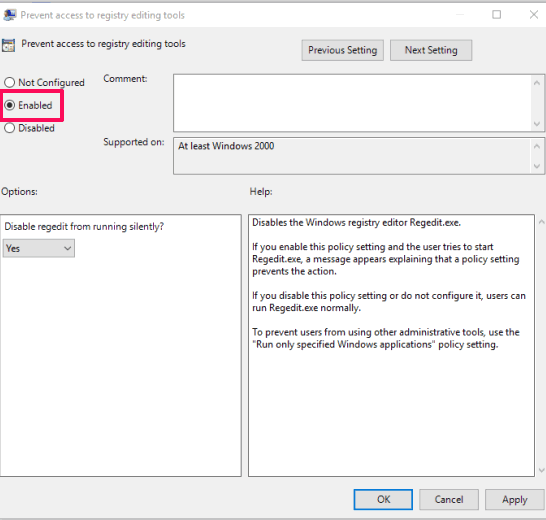 use enabled option to prevent access to registry editing tools