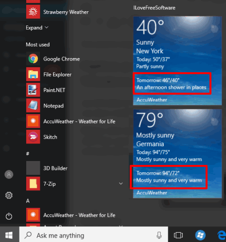 AccuWeather weather forecast for multiple cities