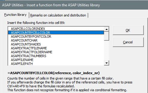 Asap Utilities formulas cell color