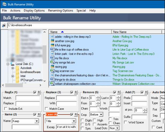 Bulk rename utility output