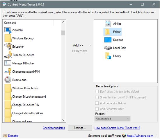 Context Menu Tuner interface