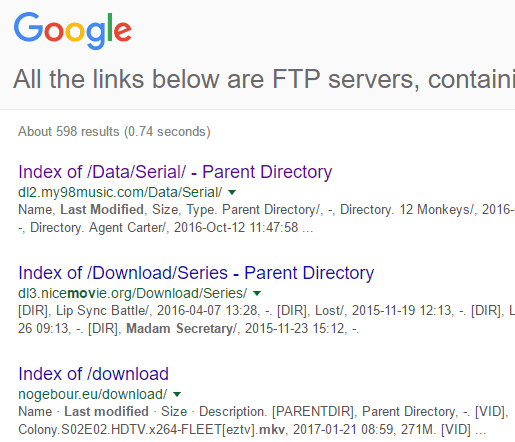 Search FTP with Google for Music, Videos, eBooks, Files, etc