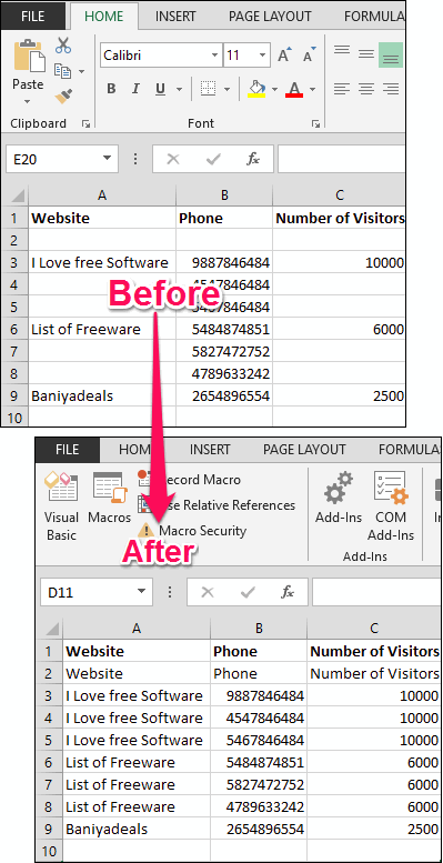 Fill blank cells in excel