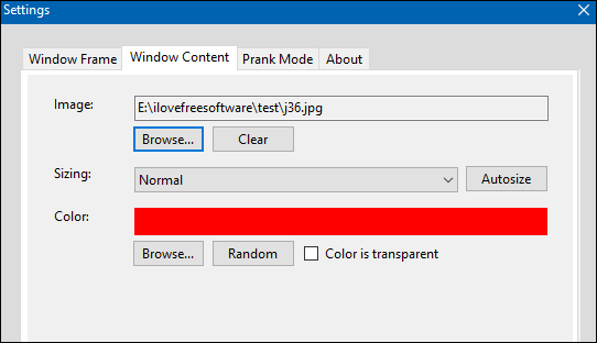 FrameDummy image settings