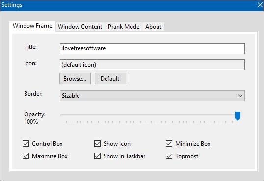 FrameDummy settings