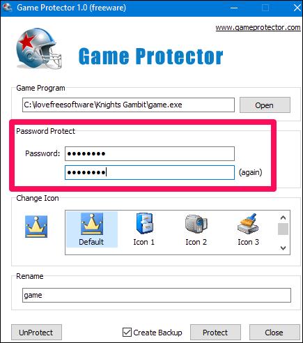 Game protector password input