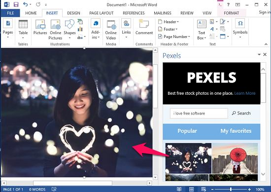 Pexels add-in in action