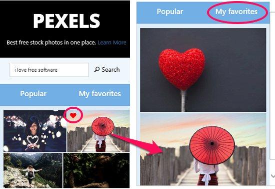 Pexels app favorites