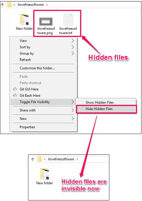 show, hide hidden files using Windows context menu